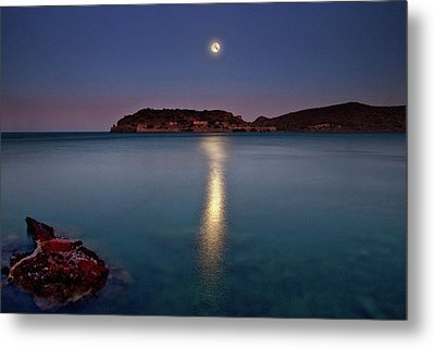 Spinalonga Full Moon Metal Print by Christos Tsoumplekas