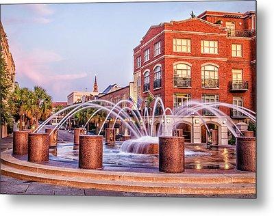 Splash Fountain In Waterfront Park Metal Print by Vanessa Kauffmann