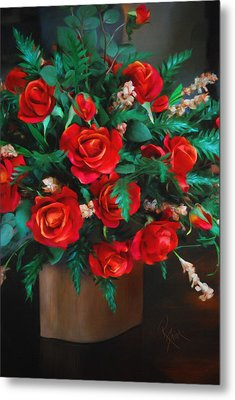 Metal Print featuring the painting Splashes Of Red by Robert Smith