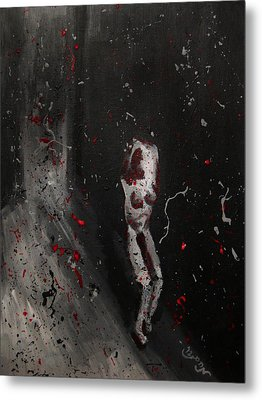 Metal Print featuring the painting Splattered Nude Young Female In Gritty City Alley In Black And White And Red by M Zimmerman