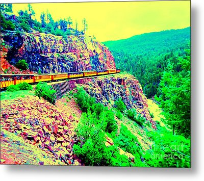 Metal Print featuring the photograph Splendid View From The Last Train Car by Ann Johndro-Collins