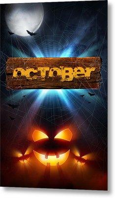 Spooky October Metal Print by Bill Tiepelman
