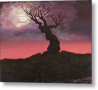 Spooky Tree Metal Print by Janet Greer Sammons