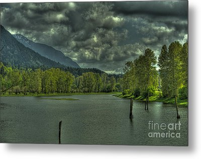 Spring Clouds At The Nicomen Slough Metal Print