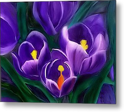 Metal Print featuring the painting Spring Crocus by Alethea McKee