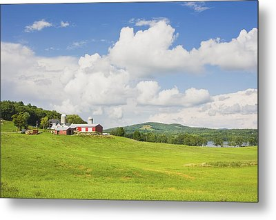 Spring Farm And Hay Field With Blue Sky Maine Metal Print by Keith Webber Jr