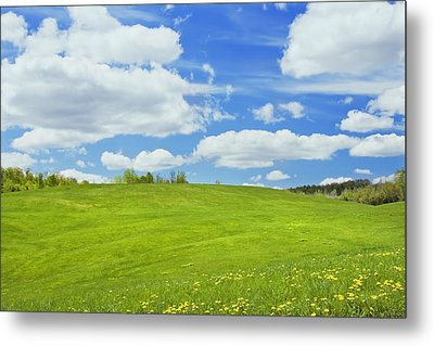 Spring Farm Landscape With Blue Sky In Maine Metal Print by Keith Webber Jr