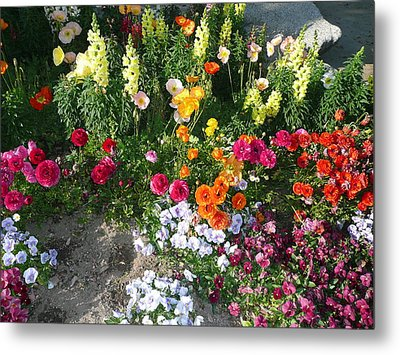 Spring Flower Garden Metal Print by Mary M Collins