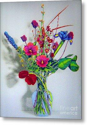 Spring Flowers In Glass Vase Metal Print by Merton Allen