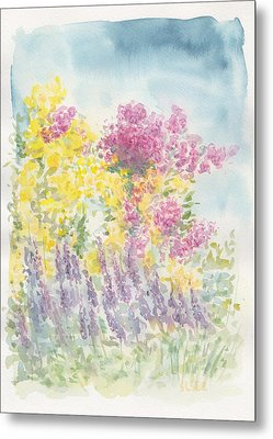 Metal Print featuring the painting Spring Garden by Jane  See