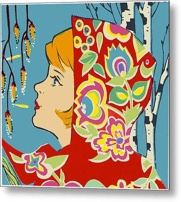 Spring Girl Poster Metal Print