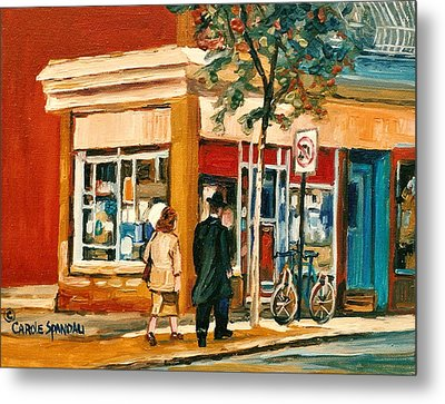Spring Time In Montreal City Scene Metal Print by Carole Spandau