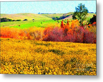 Springtime In The Golden Hills . 7d12402 Metal Print by Wingsdomain Art and Photography