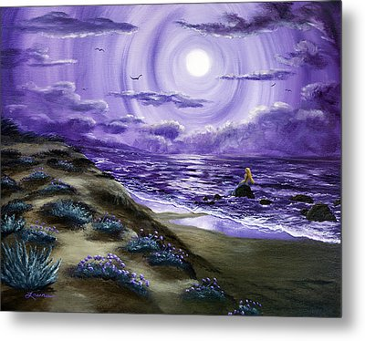 Spying A Mermaid From Flowering Sand Dunes Metal Print