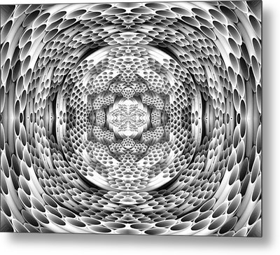 Square To Oval Abstract Bw Metal Print by Linda Phelps