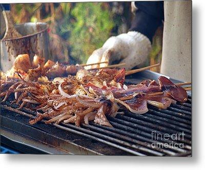 Squid Skewers Barbecue Metal Print by Yali Shi