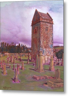 Metal Print featuring the painting St Andrews Tower  Peebles by Richard James Digance