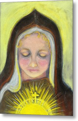 St. Clare Of Assisi All Aglow Metal Print by Susan  Clark
