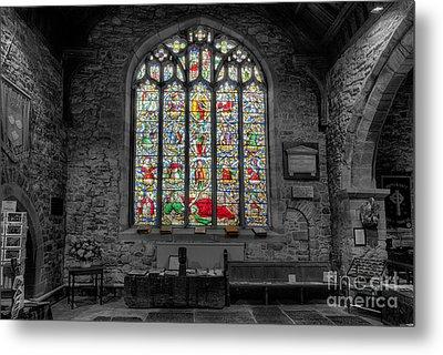 St Dyfnog Window Metal Print by Adrian Evans