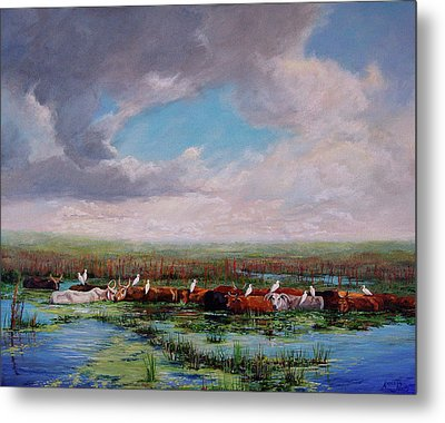 Metal Print featuring the painting St. John's Cows I by AnnaJo Vahle