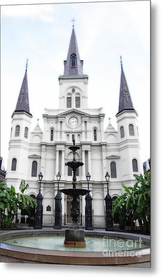St Louis Cathedral And Fountain Jackson Square French Quarter New Orleans Diffuse Glow Digital Art Metal Print