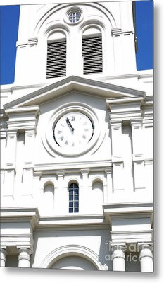 St Louis Cathedral Clock Jackson Square French Quarter New Orleans Diffuse Glow Digital Art Metal Print by Shawn O'Brien