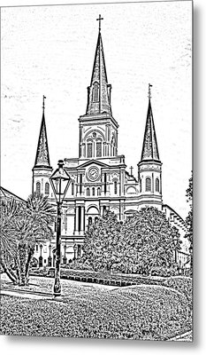 St Louis Cathedral Jackson Square French Quarter New Orleans Photocopy Digital Art  Metal Print by Shawn O'Brien