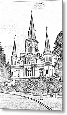 St Louis Cathedral Jackson Square French Quarter New Orleans Photocopy Digital Metal Print by Shawn O'Brien
