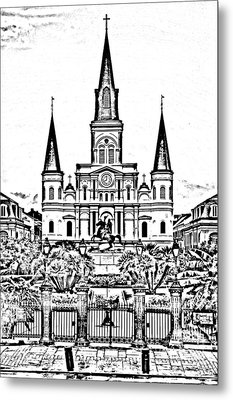 St Louis Cathedral On Jackson Square In The French Quarter New Orleans Photocopy Digital Art Metal Print by Shawn O'Brien