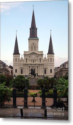 St Louis Cathedral On Jackson Square In The French Quarter New Orleans Metal Print