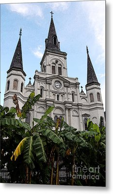 St Louis Cathedral Rising Above Palms Jackson Square New Orleans Fresco Digital Art Metal Print by Shawn O'Brien