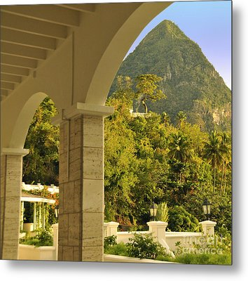 St. Lucia Mountain View Metal Print by Cindy Lee Longhini