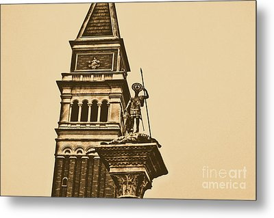 St Marks Bell Tower And Statue Italy Pavilion Epcot Walt Disney World Prints Rustic Metal Print by Shawn O'Brien