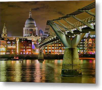 St Pauls Catherderal And Millennium Footbridge - Night - Hdr Metal Print by Colin J Williams Photography