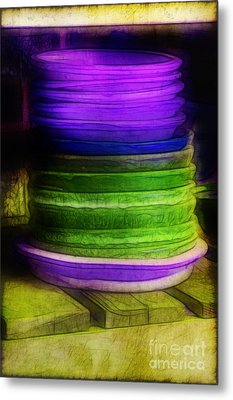 Stack Of Saucers Metal Print by Judi Bagwell