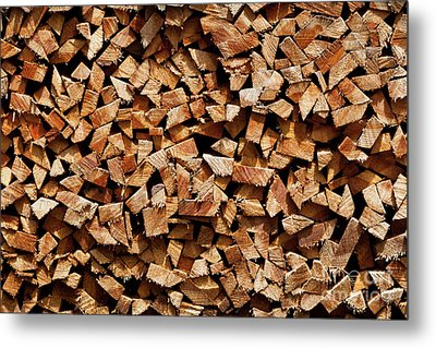 Metal Print featuring the photograph Stacked Cord Wood by Charles Lupica