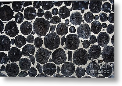 Metal Print featuring the photograph Stacked Log Wall by Barbara McMahon