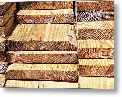 Stacked Wooden Planks Metal Print by Skip Nall