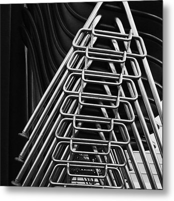 Stacks Of Chairs Metal Print by Anna Villarreal Garbis