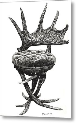 Stag Antlers Chair Metal Print by Adendorff Design