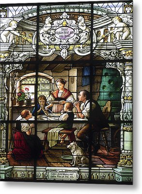 Stained Glass Family Giving Thanks Metal Print by Sally Weigand