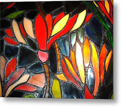 Stained Glass Four Metal Print
