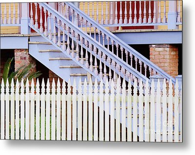 Stairs And White Picket Fence Metal Print by Jeremy Woodhouse