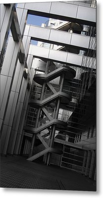 Stairs Fuji Building Metal Print by Naxart Studio