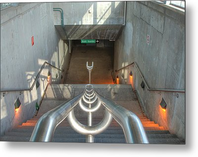 Stairs To Train Tunnel Metal Print