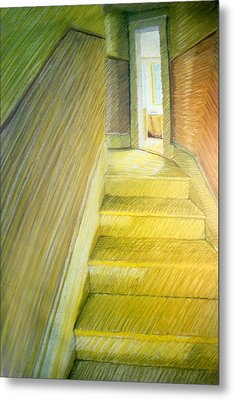 Stairwell In Malden Apartment 1978 Metal Print by Nancy Griswold