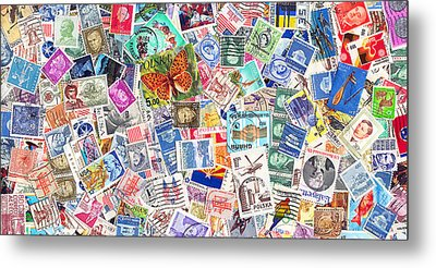 Stamp Collection . 2 To 1 Proportion Metal Print by Wingsdomain Art and Photography