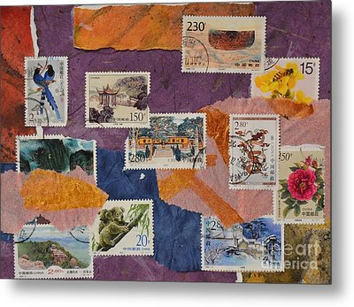 Stamps From China Metal Print by Barbara Tibbets