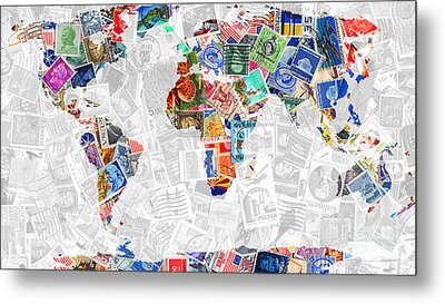 Stamps Of The World Map . V2 Metal Print by Wingsdomain Art and Photography