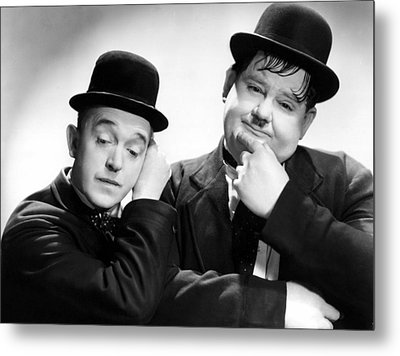 Stan Laurel, Oliver Hardy Laurel And Metal Print by Everett